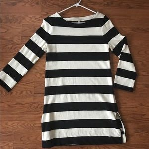 Navy and White striped long sleeve dress